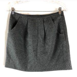 J. Crew Gray Wool Blend Pleated Mini Skirt